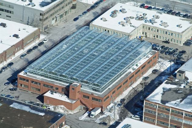 Greenhouses at Lufa Farms, world's first commercial rooftop greenhouse in Greater Montreal. Source: Wikimedia Commons