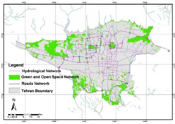 The existing ecological patches and corridors in the man-made-natural matrix of Tehran, forming the ecological structure of the city (Aminzadeh and Khansefid 2009)