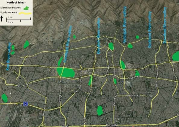 Tehran's landscape network: natural & manmade corridors and patches. Source: Google Earth.