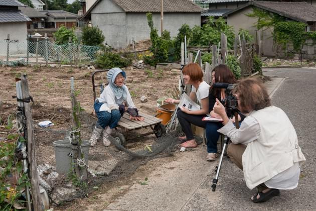 Our team interviews a 90-year-old farmer on Megijima: Photo: Suhee Kang
