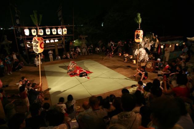 Dragon dancing on the eve of Megijima's Matsuri festival. Photo: Suhee Kang