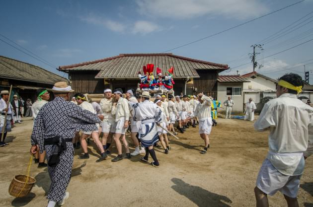 A wooden float which is carried around the village over the span of two days during Matsuri. Photo: Patrick M. Lydon