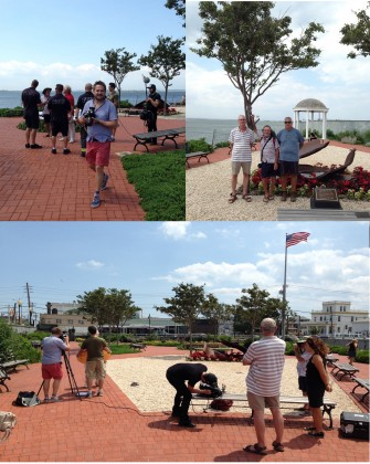 Tribute Park in 2014, with members of Friends of Tribute Park, the documentary film crew for The Trees, and the Fire Department of New York. Credit: Living Memorials Project National Registry.