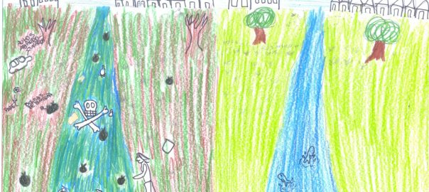 To the left of the picture dark colours showing litter, death trees and fish, and a contaminating industry near their homes. To the right, harmony between the urban fabric and the nature nearby. Drawn by Valentina,13 years old