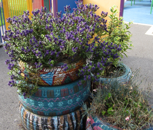 Tire planters. Photo: bathroom planters