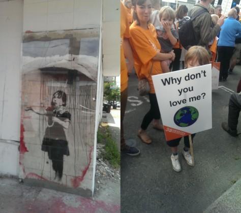 Banksu Nola and NYC Climate March kid. Photos: Mary Rowe