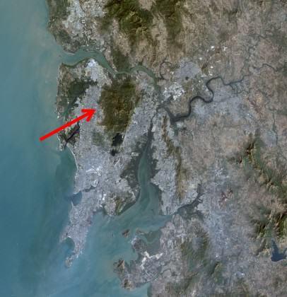NASA aerial image of Sanjay Gandhi National Park in Mumbai. By NASA [Public domain], via Wikimedia Commons