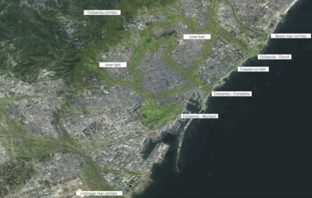 Proposed urban green-corridors network to be implemented in the city of Barcelona