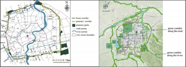 Shanghai and Xi'an green corridor plan, the left is for Shanghai and right is for Xi'an. Source: Shanghai City belt Institution of Construction and Management, and Xi'an Urban Planning and Design Bureau.