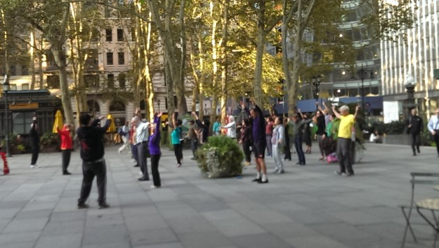 Bryant Park (New York) tai chi. Photo: Mary Rowe