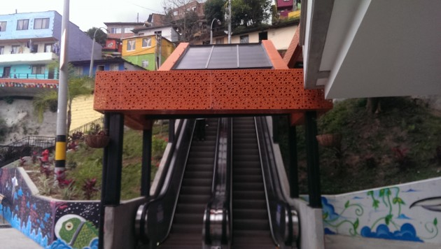 Medellín escalators. Photo: Mary Rowe.