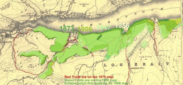 An overlay of four maps from the Scottish Natural Map Library (© Ordnance Survey License number 100021242).