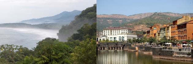 LEFT: Costa Rican rain forest. Courtesy of Whitney Hopkins. RIGHT: A lake city Near Pune. Lavasa. Photographer: Mayur239. License: Creative Commons Attribution