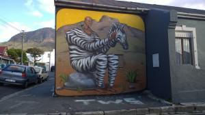 Man in Zebra costume. Woodstock, Cape Town. Photo: Pippin Anderson