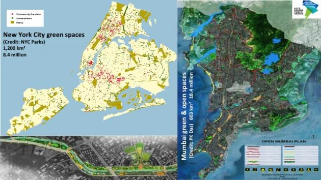 Open space maps in New York City and Mumbai. Lower left a map of a greened canal in Mumbai. Credits: (upper left) New York City Department of Parks and Recreation; (upper right and lower left): P.K. Das