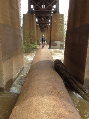 The Pipeline Trail in the James River, Charlottesville, Virginia, USA. Photo: Tim Beatley