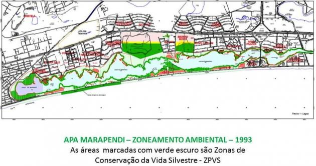 Green on the map is nature reserve, but the zoning code was changed to allow a golf course (and a huge real estate business, its real purpose) in a questionabe process. Light and dark green toghether make the Marapendi Protected Area around Marapendi Lagoon