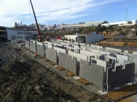 The new Brooke St ferry pontoon under construction on its own slipway, showing its internal diaphragms.