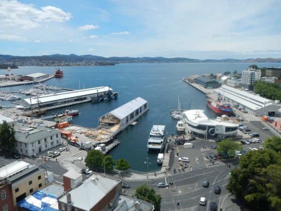 The new Brooke St ferry, now anchored in its new home in Sullivans Cove, Hobart's port.