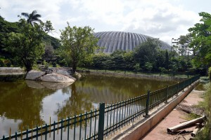 The present day Sampangi Tank with the stadium overshadowing it. Photo: Hita Unnikrishnan