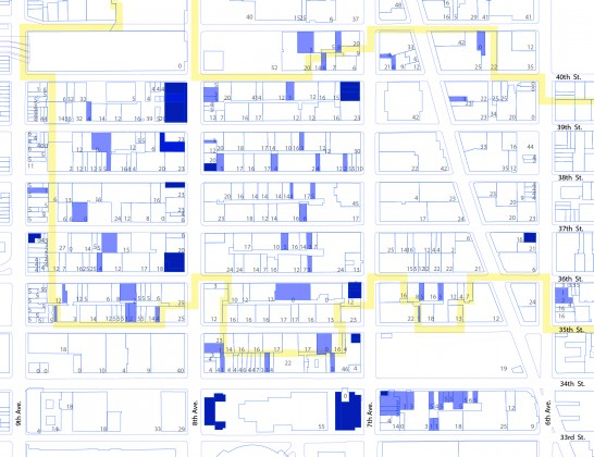 Credit: Yanisa Chumpolphaisal. The colors on the map can be read as follows: Light Blue - billboard corners, Dark Blue - sandwich spaces. Numbers mark the height of the buildings. Yellow border is the historic district where many setback roof spaces are found – a response to the 1911 zoning code that set building height and bulk limits in order to provided for light and air in the street canyon – creating a 'wedding cake' urban form.