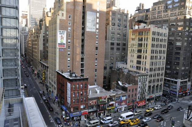 Credit: Victoria Marshall. As seen here from the roof of the Port Authority Bus Terminal in New York, there several overlooked, underused spaces that could be green roofs, connected to green walls, connected to the belly of the block and the street, and from there other micro-passageways, corridors, walls, roofs, and other micro_spaces.