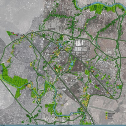 Streams of corridors consisting of watercourses, forests of trees, wetlands, mudflats and others would inevitably be rich sites of intense participation and social engagement, thus nurturing and enriching community life and networks. Waterfronts cannot be sustained as isolated or segregated edges from rest of the city. Credit: Master Plan prepared by P K Das & Associates for the town of Pimpri Chinchwad in Maharashtra, India