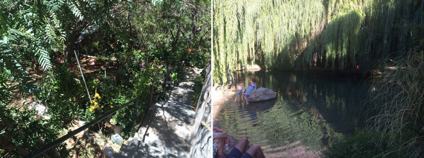 People make use of native and exotics plant species to create their own gardens (left) that help cool their houses, and also make use of natural streams to enjoy life inside the Oasis. Photos: Paula Villagra