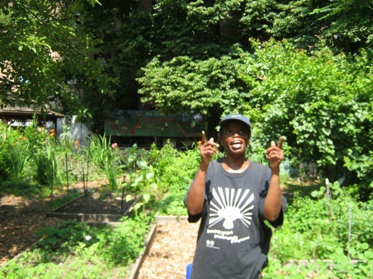 Kimberly at the Davidson Avenue Community Garden in the Bronx used the toolkit to measure volunteer time donated to the garden. She discovered that local kids were playing an important role in keeping the garden going. Photo: Liz Barry