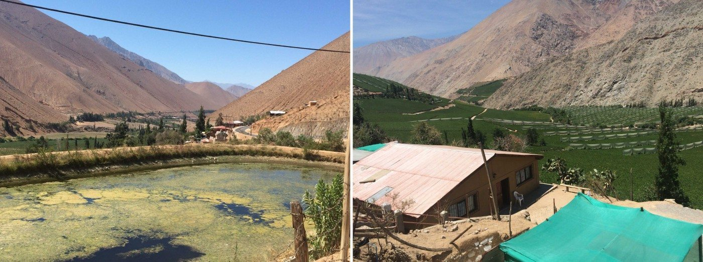These images show the fragmented human settlement occupation along the Valley (to the left) and of the stratified occupation across it (to the right), where the river is at the lower areas, next to the crops in the flooded areas, and then the housing in the upper zones. Photo: Paula Villagra
