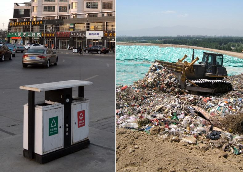 LEFT: these public waste receptacles that seem to suggest that the municipal government manages a recycling program. In fact, trash from bins such as these are usually dumped into one load and sent to landfills and/or waste incinerators. Photo: Judy Li RIGHT: mixed waste at a landfill in the outskirts of Beijing. Photo: Liwen Chen
