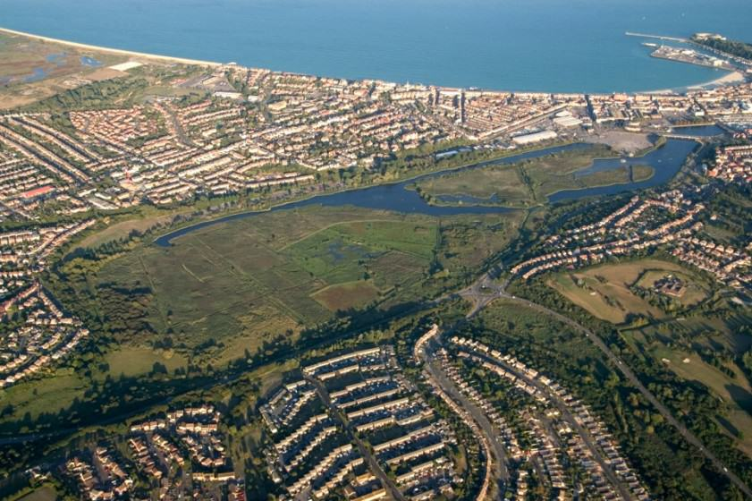 Radipole Lake in Weymouth, Dorset: Aerial view of the nature reserve in the middle of the town. Photo: David Wooton/RSPB