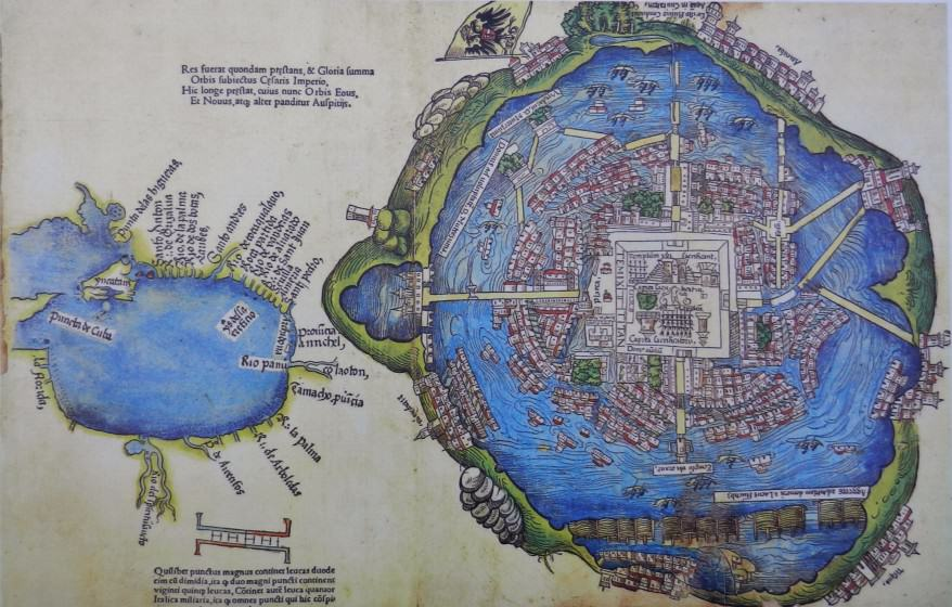 Tenochtitlan was an Aztec city located on an island in Lake Texcoco. Today, its ruins are in a central part of Mexico City.