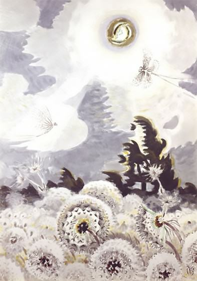 Charles E. Burchfield (1893-1967), Dandelion Seed Heads and the Moon, 1961-1965; watercolor, gouache, charcoal, and sgraffito on lightly textured white wove paper faced on 1/4-inch-thick laminated gray chalkboard, 56 x 39 5/8 inches; Karen and Kevin Kennedy Collection. https://www.burchfieldpenney.org/collection/object:l2010-001-058-dandelion-seed-heads-and-the-moon/