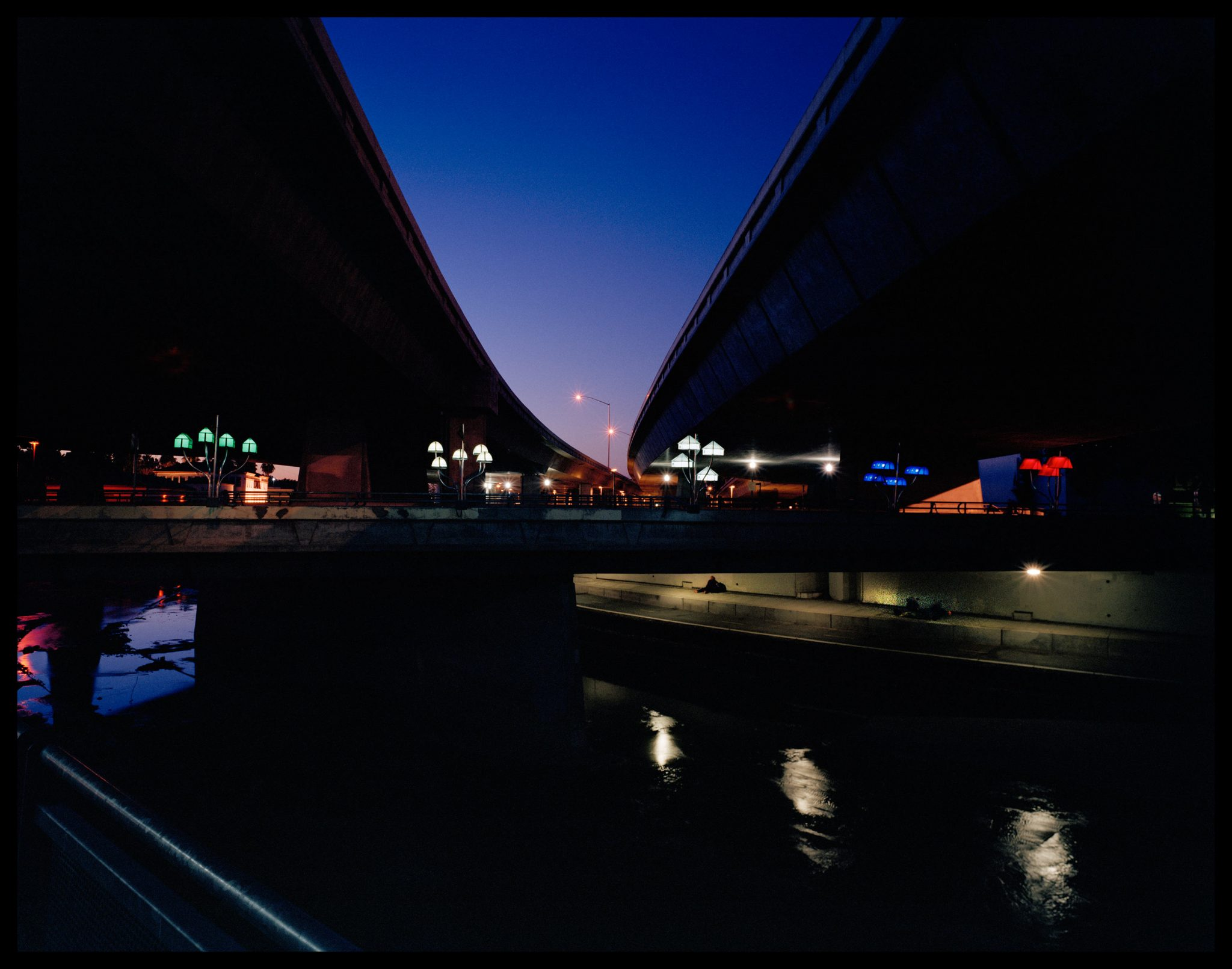 Floating Wold at Night. Work by Robin Lasser and Marguerite Perret. Photo by Robin Lasser
