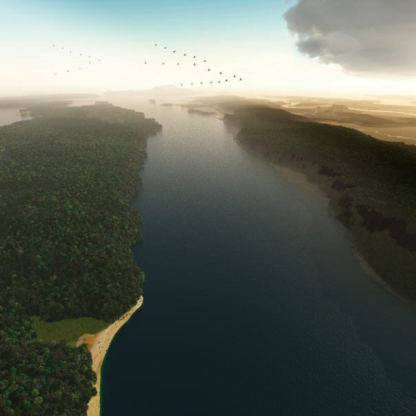 "A Hawks-eye View of the Hudson River, c. 1609. Credit: Markley Boyer / The Mannahatta Project / WCS.  This image was created for the exhibition ""Mannahatta / Manhattan"" at the Museum of the City of New York in 2009."