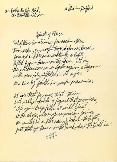 Oregon Poet Laureate, William Stafford original hand written poem, Spirit of Place