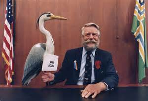 Portland Mayor Bud Clark with Great Blue Heron