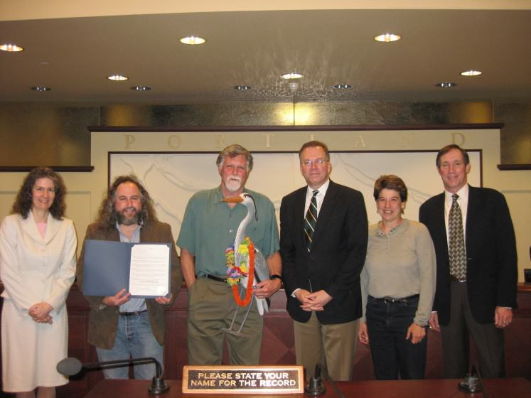 The author with the Portland City Council and Bob Sallinger, Audubon Society of Portland, 2011