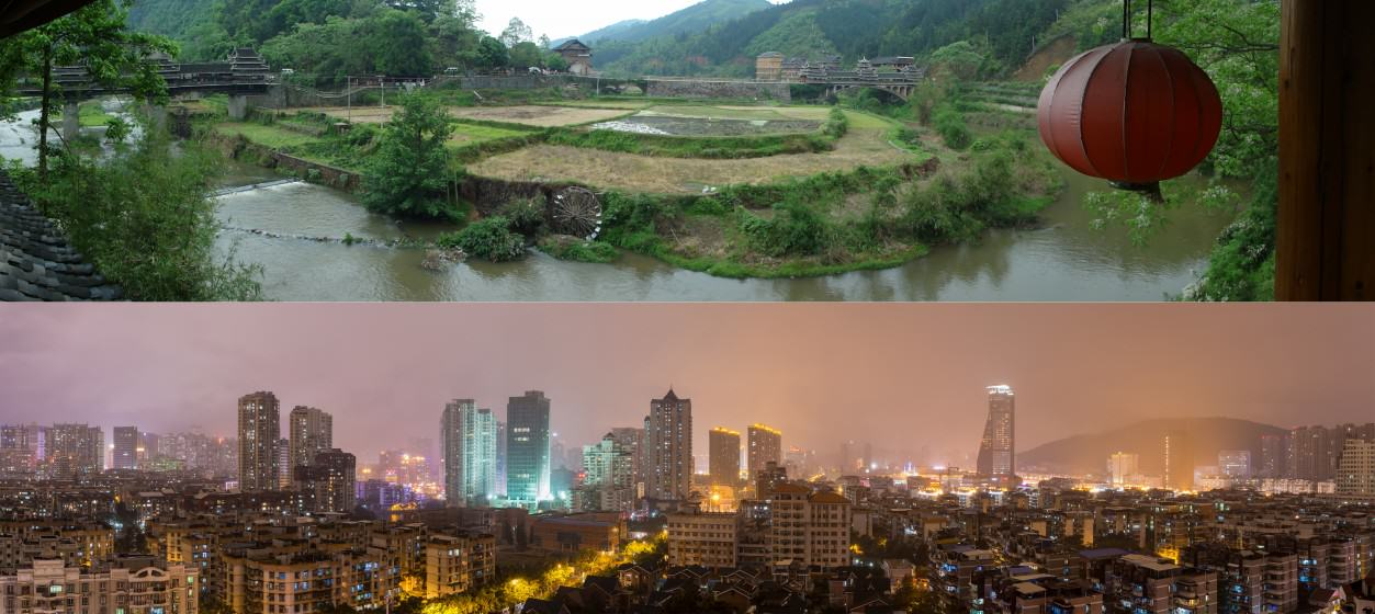 A glimpse of rural China (top) and urban China (bottom) (Sources: top: Samuel Vigier, Creative Commons; bottom: Robert S. Donovan, Creative Commons)