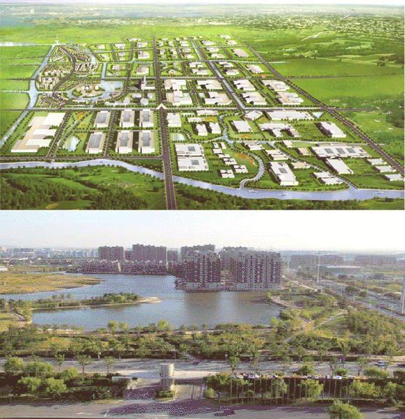 Qingpu Industrial Zone digital rendering (left) and green space (right) (Source for both: Shanghai Qingpu Industrial Zone)