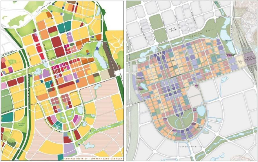 Comparison of superblock design in the original plan (left) and smaller mixed neighborhood design in the new plan (right) for Chenggong New Town. Source: China Sustainable Energy Program of the Energy Foundation and Calthorpe Associates (2011).