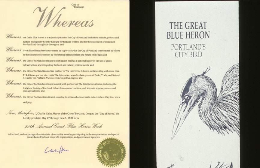 LEFT: City of Portland official proclamation,courtesy City of Portland) RIGHT:  the author with City Council and Bob Sallinger, Audubon Society of Portland, 2011)