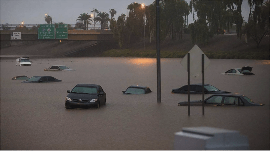 Phoenix, Arizona USA was brought to a halt by a single storm on September 8th, 2014.  Local climatologists called it a 500-year event when it rained 10-15cm in less than 24 hours. Photo: Twitter/Michael Chow