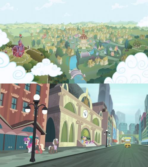 Rural landscape of Ponyville (above) and urban landscape of Manehattan (below) in My Little Pony: Friendship is Magic. Images: http://mlp.wikia.com