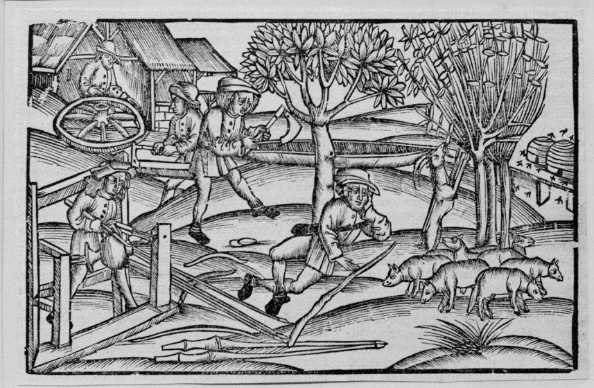 Rural Woodworking by Johan Gruninger, 16th century, Woodcut
