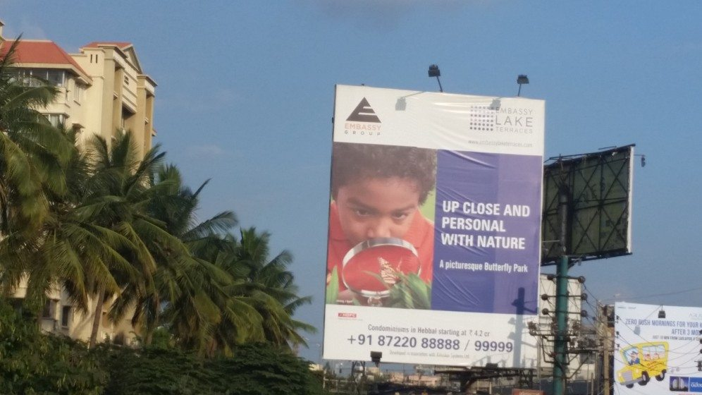 10. An advertisement for a private butterfly park in a new residential complex in Bangalore