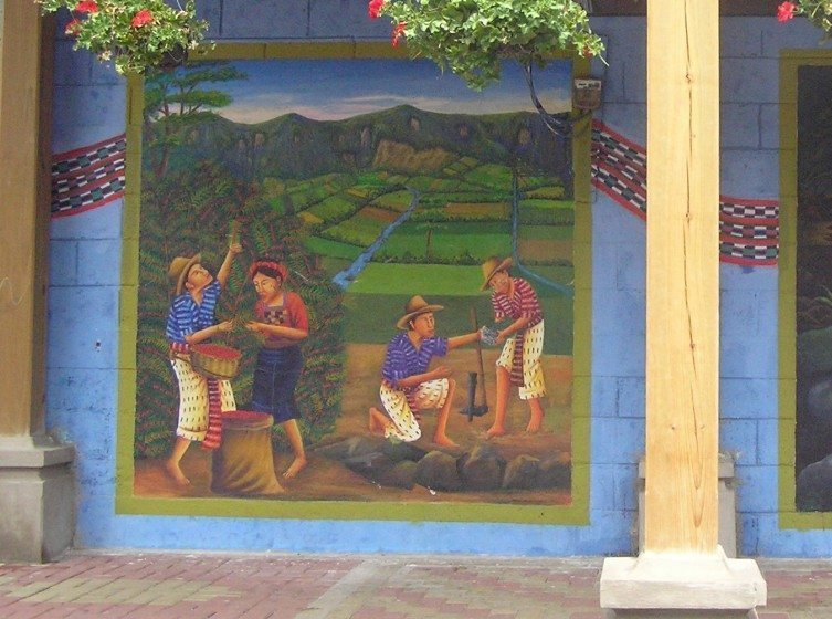 A kind of biocultural diversity: a biodiverse mosaic production landscape portrayed in an urban mural in Guatemala. Photo: William Dunbar