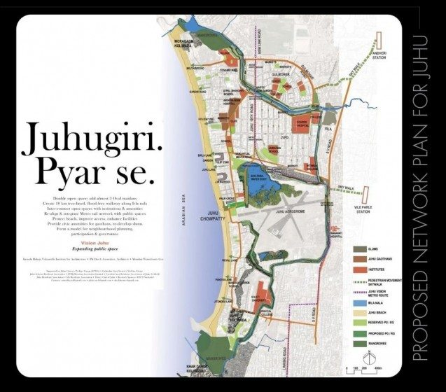 A public campaign poster, published by area residents and this author to popularize the idea of linear open spaces structure in the Juhu neighbourhood of Mumbai, currently under implementation. Credit: PK Das & Associates