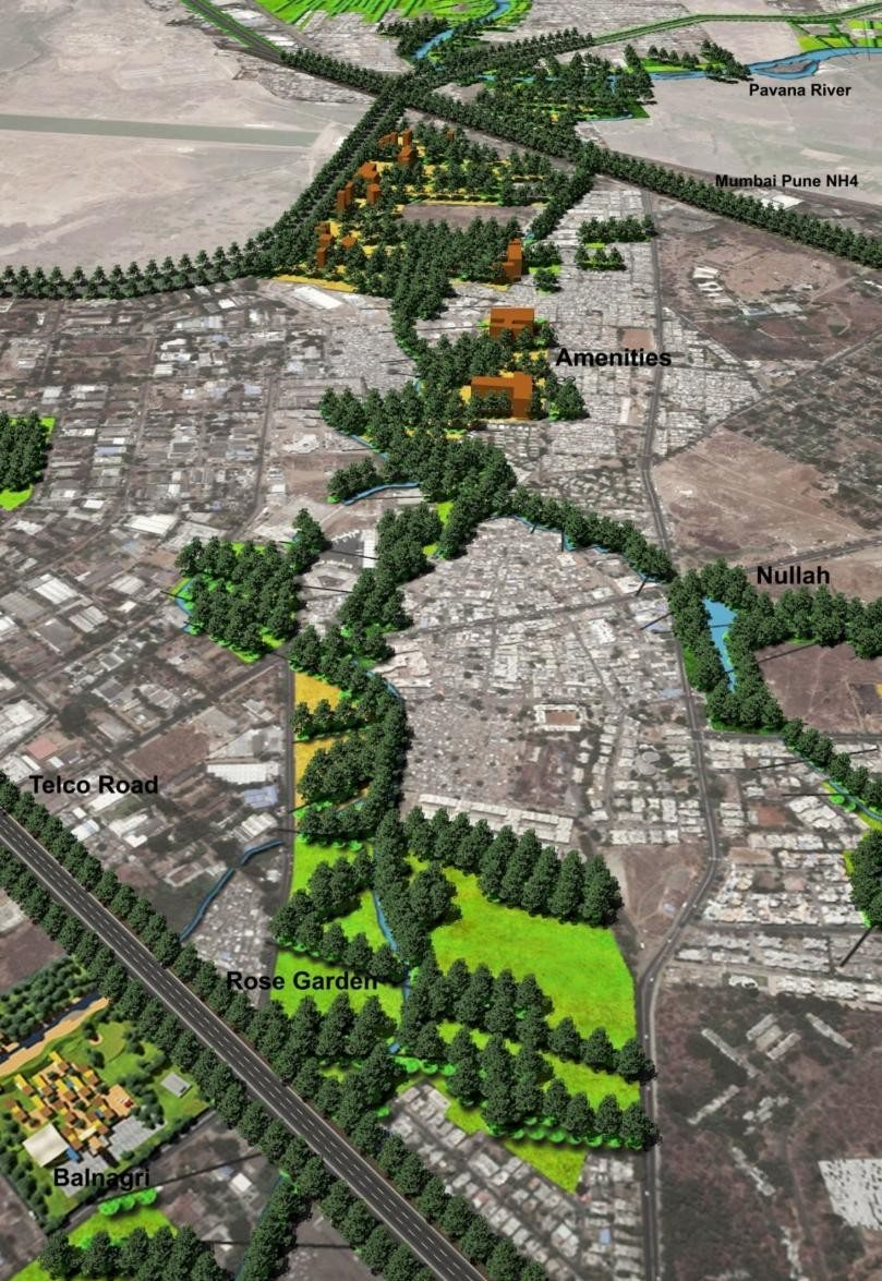 Pimpri Chinchwad Networking Plan: Central Park. A network of green corridors and a central park in a plan by this author for Pimpri Chinchwad town in the state of Maharashtra, India. Credit: PK Das & Associates